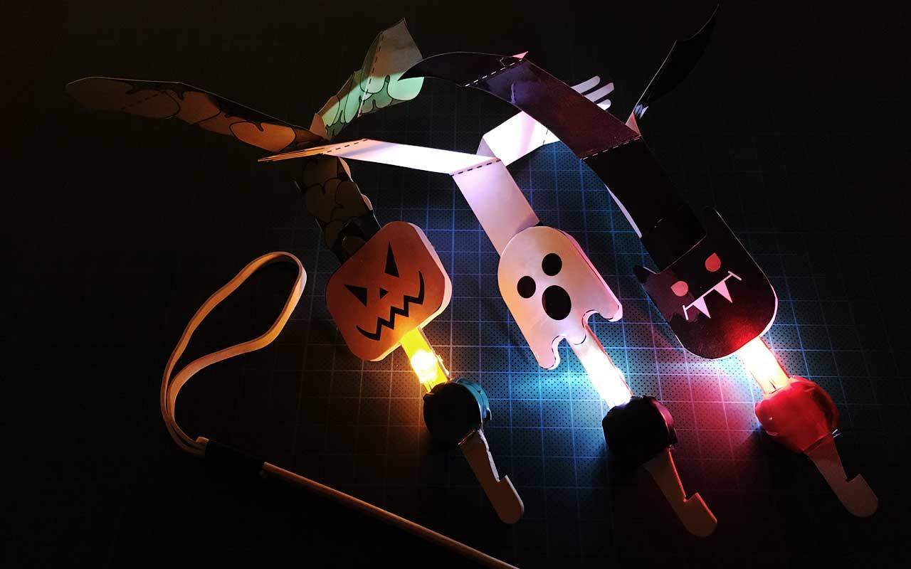 Tre LED-o-koptere