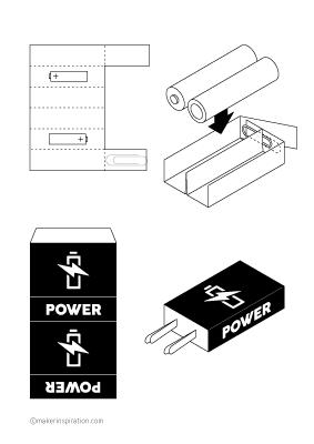 Print sheet 3V battery holder