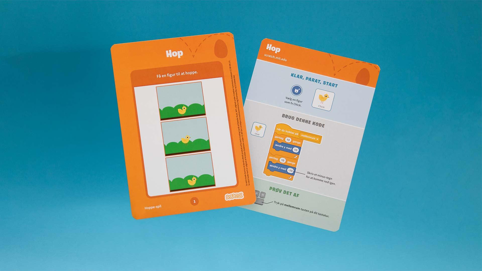 Scratch kode-kort forside og bagside.